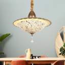 White Glass Curved Chandelier Lighting Fixture Mediterranean LED Gold Drop Pendant with Crystal Droplet