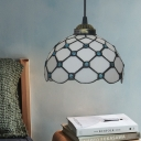 Dome/Flower Suspension Lighting Fixture 1 Light Beige/Blue/Green Glass Mediterranean Hanging Pendant Light