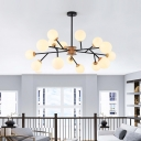 6 Heads Spherical Hanging Chandelier Modern Opal Glass Suspended Lighting Fixture in Black/White