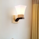 Wide Flare Wall Lighting Asian White Glass 1 Head Beige Sconce Light Fixture with Wood Backplate