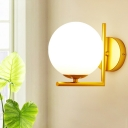 1 Head Bedroom Sconce Modernist Gold Wall Light Fixture with Orb Opal Frosted Glass Shade