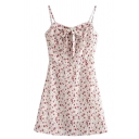 Pretty White Sleeveless Bow Tie All Over Floral Printed Pleated Mini A-Line Cami Dress for Girls