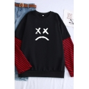 Popular Sad Face Pattern Colorblock Long Sleeve Round Neck Pullover Sweatshirt