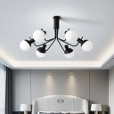 White Glass Ball Semi Flush Mount Modernist 6/8 Bulbs Ceiling Light Fixture in Black for Bedroom