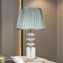 K9 Crystal Blue Table Light Cone Single Bulb Vintage Night Lamp with Cylinder Pedestal for Bedroom