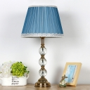 Retro Conical Table Lamp Single Head Clear Crystal Ball Nightstand Light in Blue with Braided Trim