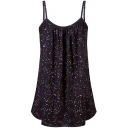 Popular Summer Sleeveless Spot Printed Ruched Loose Fit Cami Top for Girls