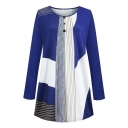 Blue Unique Casual Long Sleeve Round Neck Stripe Print Contrasted Button Detail Pleated Longline Relaxed Tee