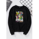 Cool Women's Long Sleeve Crew Neck Letter Print Loose Fit Pullover Sweatshirt