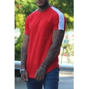 Active Color-Block Striped Short Sleeves Crew Neck Curved Hem Slim Fitted Sport T-Shirt