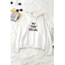 Fashion Ladies' Long Sleeve Drawstring Letter NO THIN PECIAL Kangaroo Pocket Relaxed Hoodie