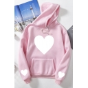 Fashion Women's Long Sleeve Drawstring Heart Print Kangaroo Pocket Relaxed Hoodie