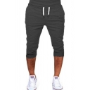 Mens Sport Stylish Drawstring Waist Plain Joggering Track Pants Cropped Trousers