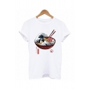 Unique Sea Wave Ramen Pattern Short Sleeves Fitted White T-Shirt for Summer