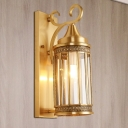1/3-Head Wall Light Traditionalism Cylindrical Metal Wall Sconce Lighting in Brass for Hall, 6.5