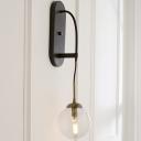 Clear Glass Drop Wall Sconce Minimalist 1 Light Black Wall Mounted Light Fixture