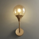 Retro Style Bare Ball Wall Sconce Single Amber Closed Glass Wall Mounted Light Fixture