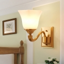 Vintage Bell Shade Wall Sconce Fixture 1/2-Light Frosted Glass and Metal Wall Light in Brass for Bedroom