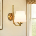 1 Head Wall Sconce Fixture Modern Style Tapered Shade Milky Glass Wall Lighting in Brass for Bedroom