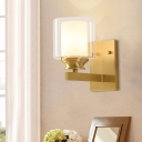 Brass Finish Drum Wall Light Fixture Modern Style Double Glass 1 Bulb Living Room Sconce Lighting