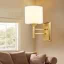 Drum Ivory Glass Wall Light Sconce Minimalism Style 1 Light Living Room Wall Mount Lamp in Brass