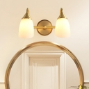 Dome Metal Vanity Wall Sconce Traditional 2/3 Heads Bathroom Wall Mount Light in Brass