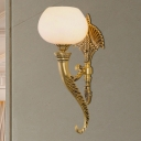 Vintage Style Bowl Wall Light Fixture 1 Light Frosted Glass Wall Lamp in Gold for Living Room