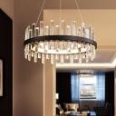 Ring Living Room Chandelier Pendant Light Crystal 23.5