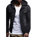 Mens Popular Denim Patchwork Chest Pocket Button Up Long Sleeve Casual Hooded Jacket