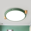 Macaron LED Flush Mount Light Fixture White/Green/Gray Disk LED Ceiling Lighting with Acrylic Diffuser in Warm/White Light, 16