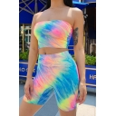 Womens Sexy Tie Dye Pattern Bandeau Tube Top & Skinny Shorts Two Piece Co-ords