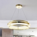 Crystal Rod Circular Chandelier Light Contemporary Gold LED Hanging Ceiling Light