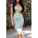 Ladies Sexy Button Front Crop Cami Top Midi Bodycon Skirt Whole Colored Two Piece Set