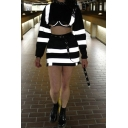 New Fashion Reflective Striped Print Long Sleeve Cropped Sweatshirt Mini Fitted Skirt
