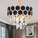 Black Tiered Hanging Chandelier Modern Style 9/16 Lights Crystal Pendant Light Kit for Living Room