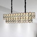 Round Island Lighting Simple Crystal 10 Lights Nickel Pendant Light with Elk Pattern