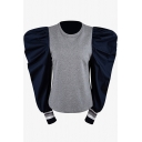Ladies Designer Contrast Puff Long Sleeve Zip Back Gray and Navy Fitted Sweatshirt
