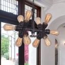 Sputnik Metallic Pendant Ceiling Light Industrial Style 10 Lights Black Finish Chandelier Lamp for Restaurant