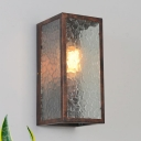 Metal Cubic Wall Lamp Fixture Vintage Style 1 Light Weathered Copper Wall Sconce with Clear Cracked Glass Shade