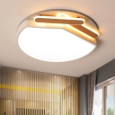 Circle Ceiling Light Fixture Contemporary Metal Gold/Black-White 16.5