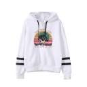 Cool Popular Girls' Long Sleeve Drawstring Cartoon Graphic Boxy Varsity Striped Hoodie