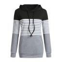 Womens Stylish Stripe Panel Long Sleeve Nursing Drawstring Hoodie with Pocket