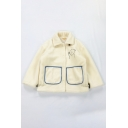Fashion Fancy Girls' Long Sleeve Lapel Collar Bear Print Patch Pockets Contrasted Horn Button Teddy Jacket in Beige