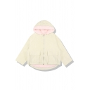 Cute Plain Long Sleeve Hooded Zipper Front Flap Pockets Corduroy Shearling Lined Oversize Jacket for Girls