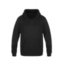 Female Active Plain Long Sleeve Drawstring Kangaroo Pocket Relaxed Fit Hoodie