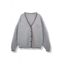 Basic Fashion Girls' Long Sleeve Deep V-Neck Button Down Elephant Print Contrast Piped Boxy Knit Cardigan in Grey
