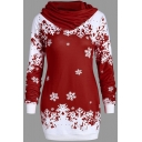 Unique Girls' Long Sleeve Cowl Neck Snow Patterned Button Embellished Slim Fit Midi Pullover Sweatshirt