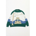 Preppy Stylish Cartoon Marmot and Tree Pattern Long Sleeves Green Oversized Jacquard Sweater