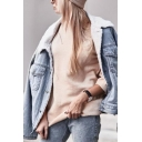 Trendy Girls' Long Sleeve Lapel Collar Flap Pockets Button Down Shearling Liner Baggy Plain Denim Jacket