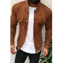 New Stylish Whole Colored Stand Collar Long Sleeve Button Down Slim Cotton Work Jacket